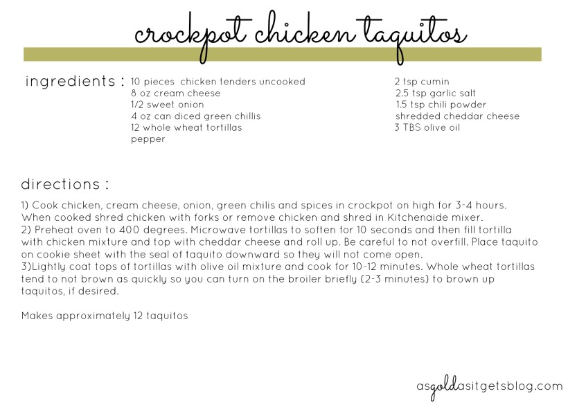 crockpot chicken taquitos recipe card
