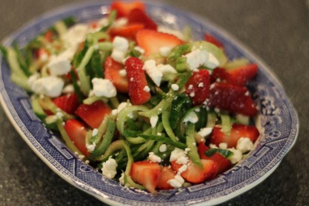 cucumber, strawberry, feta + poppyseed salad