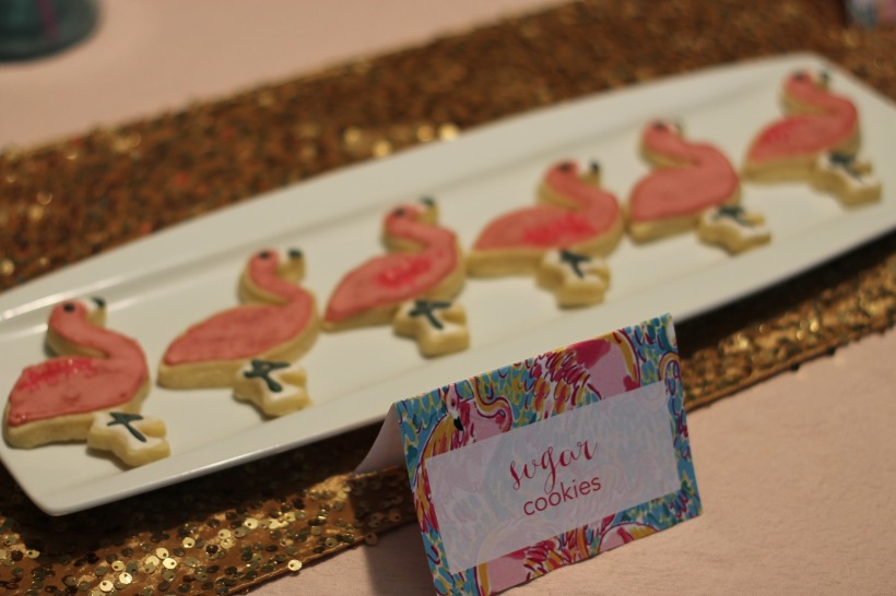 Lilly Pulitzer party flamingo cookies | as GOLD as it gets blog