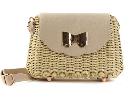gold bow wicker crossbody bag