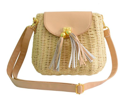 tassel wicker crossbody bag