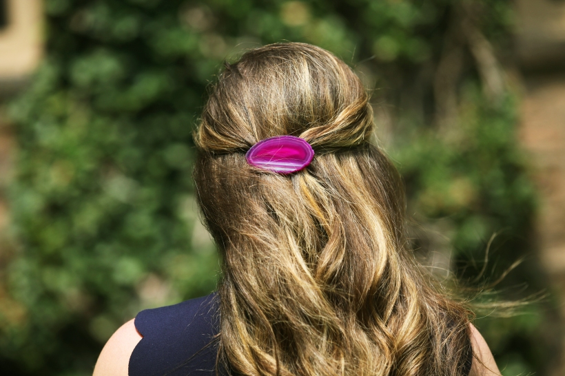 elizabeth heard barrettes , etsy shops, elephant barrette, game day accessories, college, hair, agate, pink barrette