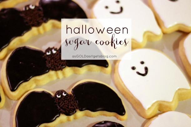 halloween sugar cookies - bats and ghosts!