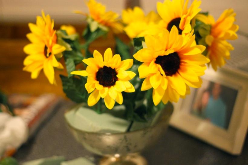 sunflower eucalyptus centerpiece