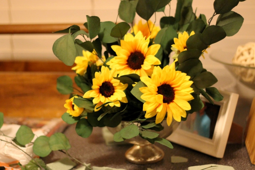 sunflower eucalyptus centerpiece