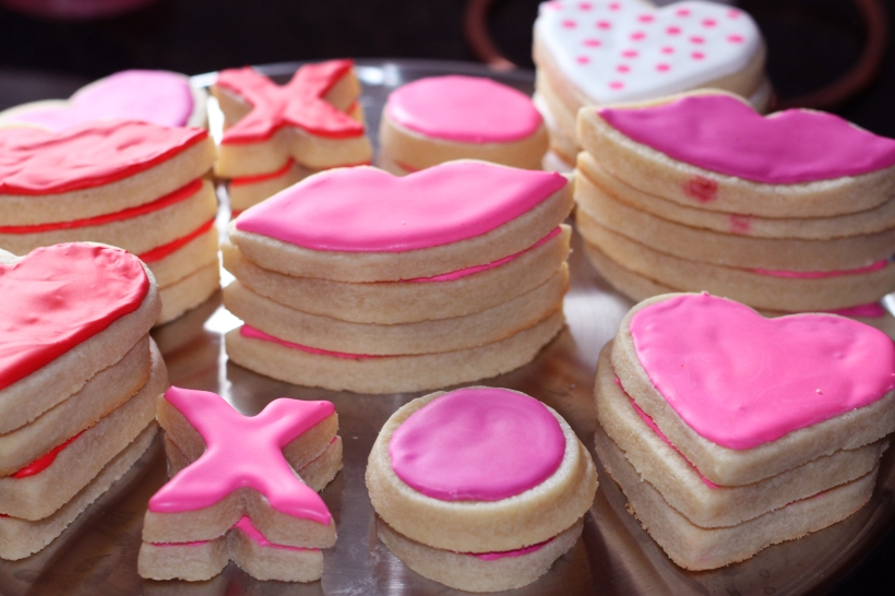 stacks of valentine cookies