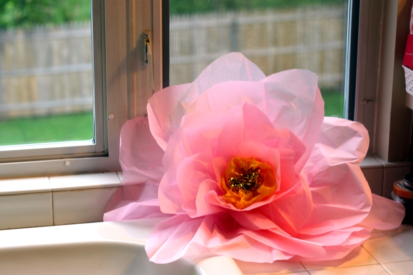 Diy large paper tissue flowers as gold as it gets large paper flower mightylinksfo