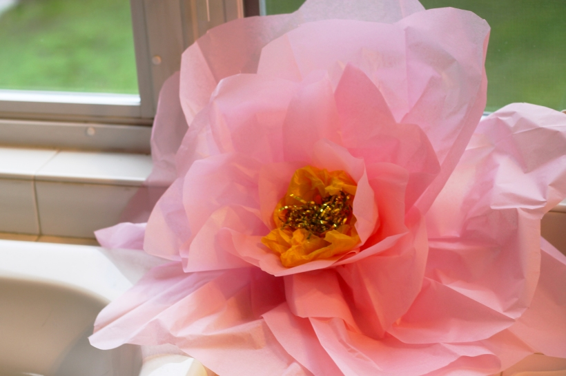 Diy large paper tissue flowers as gold as it gets large pink paper tissue flower mightylinksfo